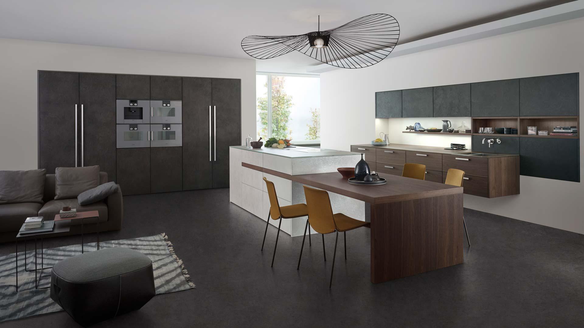 Leicht Küche Modern in Holz und Beton bei Miele Center Ebner & Spuller in Graz